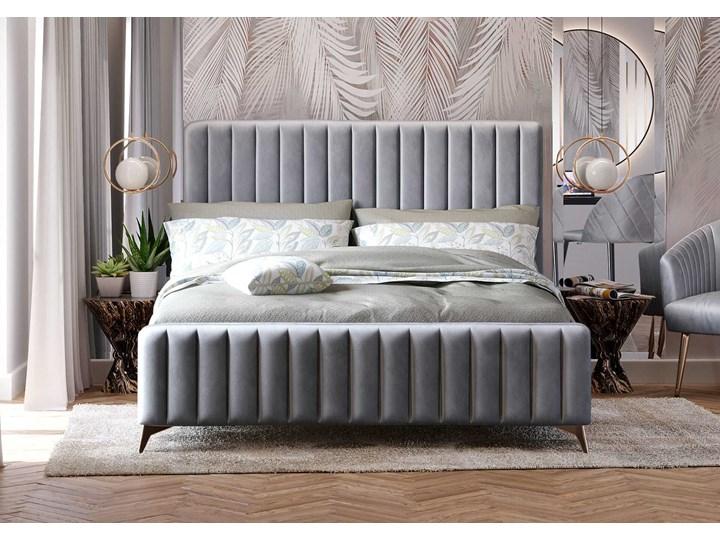 Łóżko 140x200 w stylu Glamour BELANIA (VFB-02) / Welur - Szary Metal Rozmiar materaca 140x200 cm Tkanina Drewno Kategoria Łóżka do sypialni