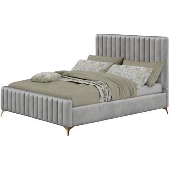 Łóżko welurowe 160x200 w stylu Glamour BELANIA (VFB-02) / Szary