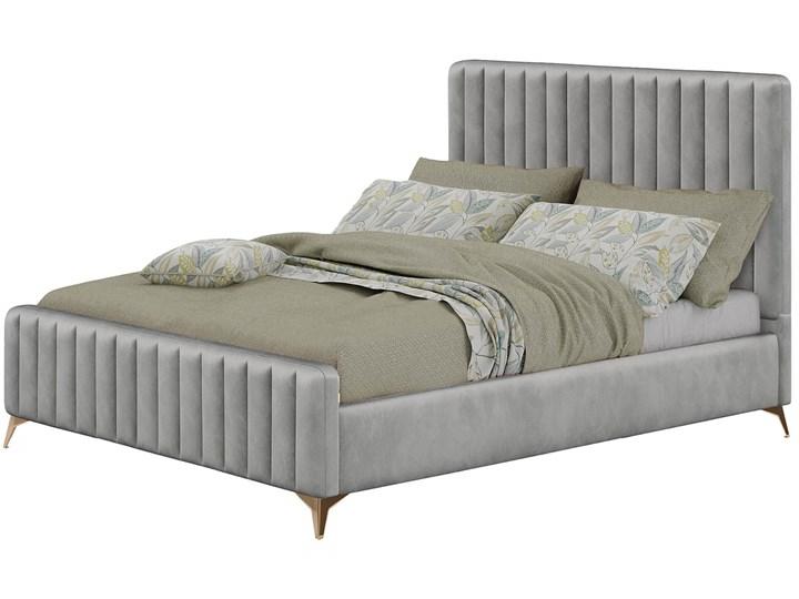 Łóżko 140x200 w stylu Glamour BELANIA (VFB-02) / Welur - Szary Rozmiar materaca 140x200 cm Tkanina Drewno Metal Kategoria Łóżka do sypialni