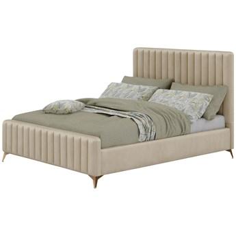Łóżko 140x200 w stylu Glamour BELANIA (VFB-02) / Welur - Beż
