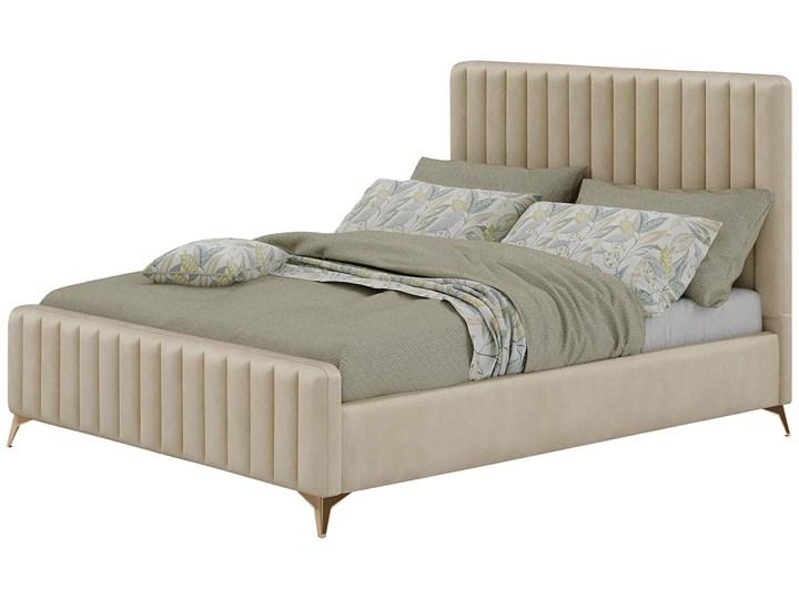 Łóżko Glamour 140x200 (VFB-02) / Welur - Beż Drewno Metal Tkanina Rozmiar materaca 140x200 cm