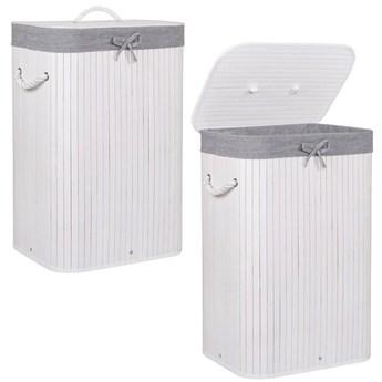 Pojemnik na pranie 72L kosz z klapą bambus naturalny biały