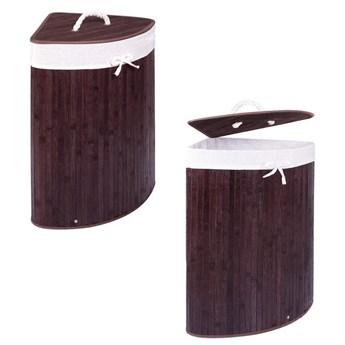 Pojemnik na pranie 73L narożny kosz z klapą bambus naturalny ciemny brąz