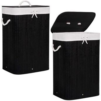 Pojemnik na pranie 72L kosz z klapą bambus naturalny czarny