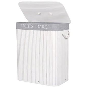 Pojemnik na pranie 100L kosz z 2 komorami bambus naturalny biało-szary