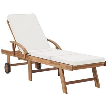 Kremowy leżak z drewna do ogrodu - Santori