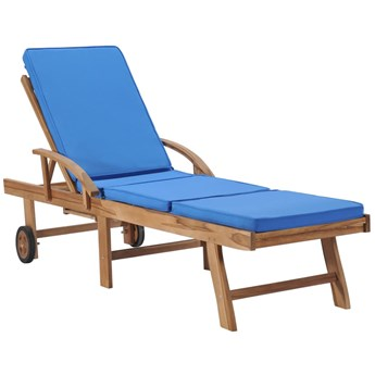 Niebieski leżak ogrodowy z poduszką - Santori