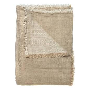 Narzuta na łóżko z lnu z wzorem w jodełkę Linton 260x260 Oeko-Tex kolor naturalny HIMLA