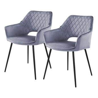 SELSEY Zestaw dwóch krzeseł tapicerowanych z podłokietnikami Meriva szare