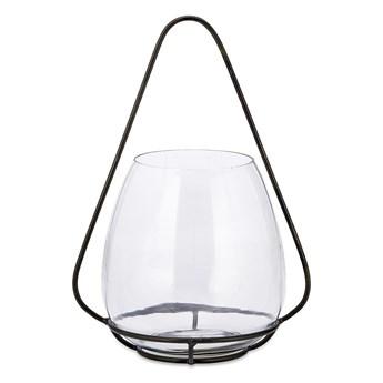 Szklany świecznik z metalową konstrukcją Nkuku Keeto, wys. 37 cm