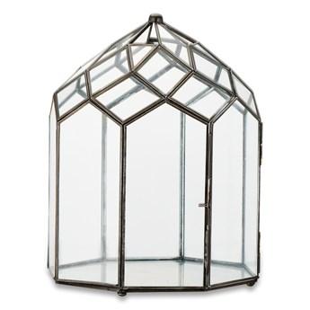 Metalowo-szklany lampion z czarną konstrukcją Nkuku Zarika, wys. 33 cm