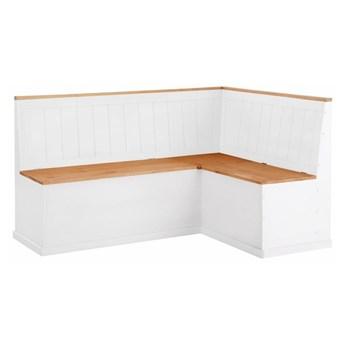 Biała ławka narożna z drewna sosnowego ze schowkiem Støraa Silas