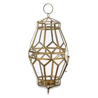 Metalowo-szklany lampion z elementami z mosiądzu Nkuku Migala, wys. 43 cm
