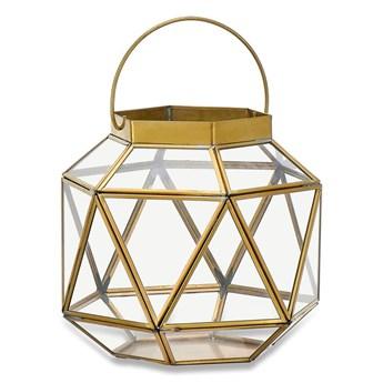 Metalowo-szklany lampion z elementami z mosiądzu Nkuku Fiomi, wys. 19,5 cm
