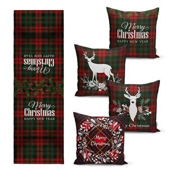 Zestaw 4 świątecznych poszewek na poduszki i bieżnika Minimalist Cushion Covers Tartan Christmas