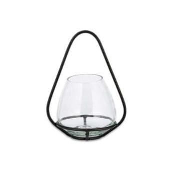 Zestaw 2 szklanych świeczników z metalową konstrukcją Nkuku Keeto, wys. 17,5 cm
