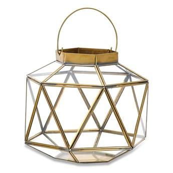 Metalowo-szklany lampion z elementami z mosiądzu Nkuku Fiomi, wys. 24 cm