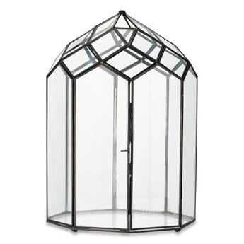 Metalowo-szklany lampion z czarną konstrukcją Nkuku Zarika, wys. 45 cm