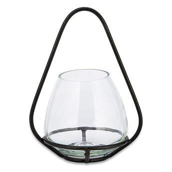 Szklany świecznik z metalową konstrukcją Nkuku Keeto, wys. 23 cm