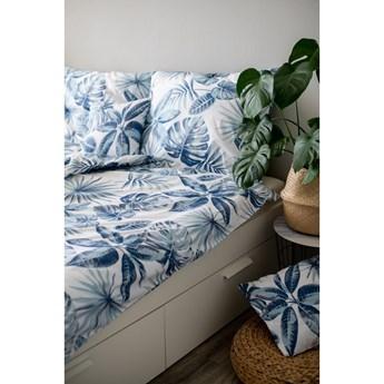 Niebieska bawełniana pościel Cotton House Monstera, 140x200 cm