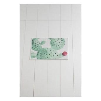 Biało-zielony dywanik łazienkowy Tropica Cactus II, 60x40 cm