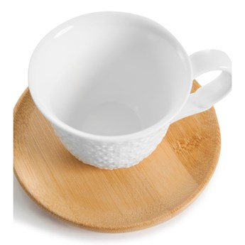 Zestaw 2 filiżanek na espresso z bambusu i spodkami Bambum Flo