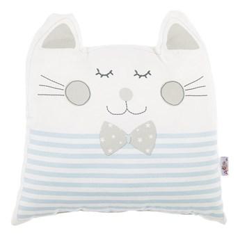 Niebieska poduszka dziecięca z domieszką bawełny Mike & Co. NEW YORK Pillow Toy Big Cat, 29x29 cm