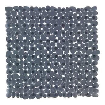 Antracytowa antypoślizgowa mata prysznicowa Wenko Drop, 54x54 cm