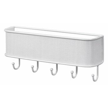 Biała półka z haczykami InterDesign Mail and Key Rack, dł. 26,5 cm