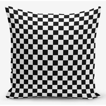 Czarno-biała poszewka na poduszkę z domieszką bawełny Minimalist Cushion Covers Black White Ekose, 45x45 cm