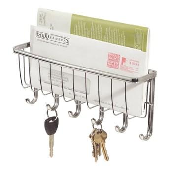 Mały wieszak na klucze z haczykami i z przegródką na gazety iDesign York Lyra, szer. 27,5 cm