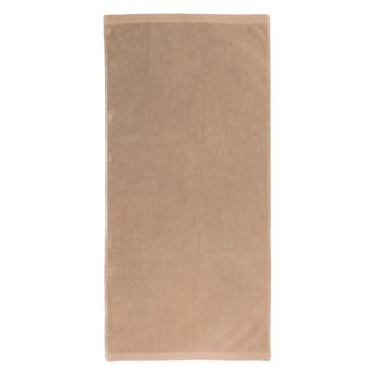 Ciemnobeżowy bawełniany ręcznik kąpielowy Boheme Alfa, 70x140 cm