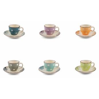 Zestaw 6 kolorowych filiżanek do espresso ze spodkiem Villa d'Este Tazzine