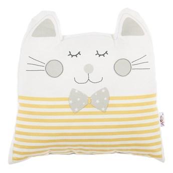 Żółta poduszka dziecięca z domieszką bawełny Mike & Co. NEW YORK Pillow Toy Big Cat, 29x29 cm