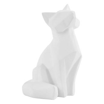 Matowa biała figurka w kształcie lisa PT LIVING Origami Fox, wys. 15 cm