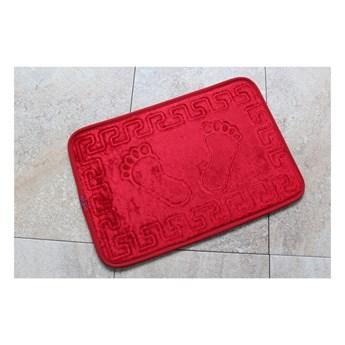 Czerwony dywanik łazienkowy z motywem stóp Feet Feet, 60x40 cm