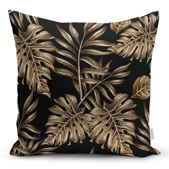 Poszewka na poduszkę Minimalist Cushion Covers Golden Leafes With Black BG, 45x45 cm