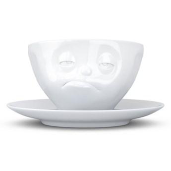 Biała porcelanowa nadąsana filiżanka ze spodkiem 58products