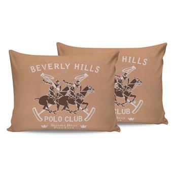 Komplet 2 brązowych bawełnianych poszewek na poduszki Beverly Hills Polo Club Marro, 50x70 cm