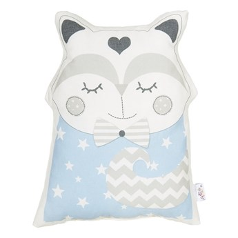 Niebieska poduszka dziecięca z domieszką bawełny Mike & Co. NEW YORK Pillow Toy Smart Cat, 23x33 cm