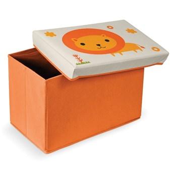 Pomarańczowy podnóżek ze schowkiem Domopak Lion