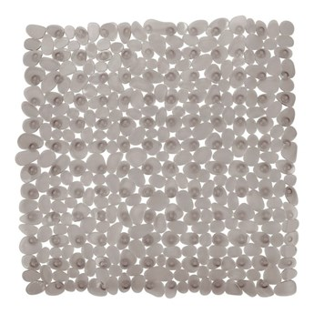 Szarobeżowa antypoślizgowa mata prysznicowa Wenko Drop, 54x54 cm