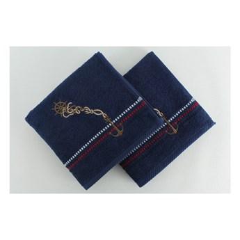 Zestaw 2 granatowych ręczników bawełnianych Marina, 50x90 cm