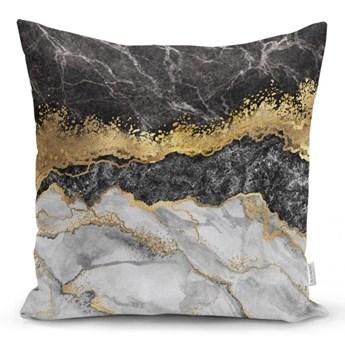 Poszewka na poduszkę Minimalist Cushion Covers BW Marble With Golden Lines, 45x45 cm