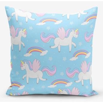 Poszewka na poduszkę z domieszką bawełny Minimalist Cushion Covers Blue Background Unicorn Rainbows, 45x45 cm