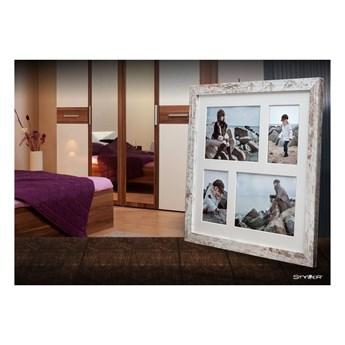 Szaro-biała ramka na 4 zdjęcia Styler Narvik Shabby, 39x39 cm