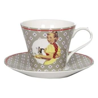 Filiżanka ceramiczna ze spodkiem Antic Line Vintage Gris