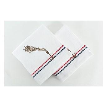 Zestaw 2 białych ręczników Marina, 50x90 cm