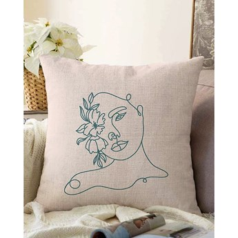 Jasnobeżowa poszewka na poduszkę z domieszką bawełny Minimalist Cushion Covers Chenille, 55x55 cm