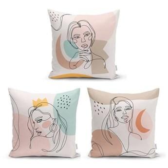 Zestaw 3 dekoracyjnych poszewek na poduszki Minimalist Cushion Covers Minimalist Line, 45x45 cm